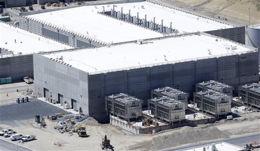 FILE - This June 6, 2013, file photo, shows the National Security Agency's Utah Data Center in Bluffdale, Utah. Records show the National Security Agency data center in Utah used more water in 2014, though the usage is still far lower than...