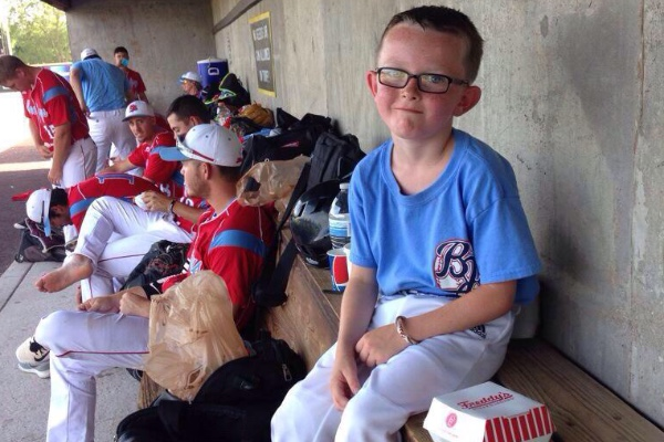 Kaiser Carlile, 9, was the bat boy for the Liberal Bee Jays