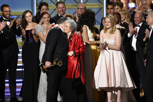 Bruce Miller, from left, Margaret Atwood, and Elisabeth Moss_448068