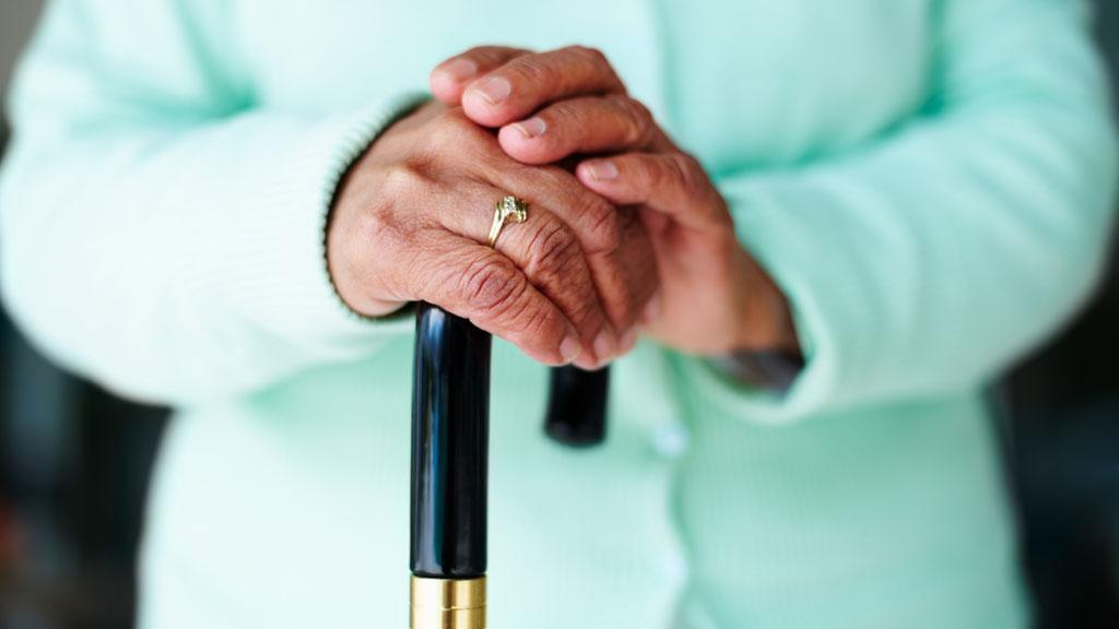 elderly hands, cane