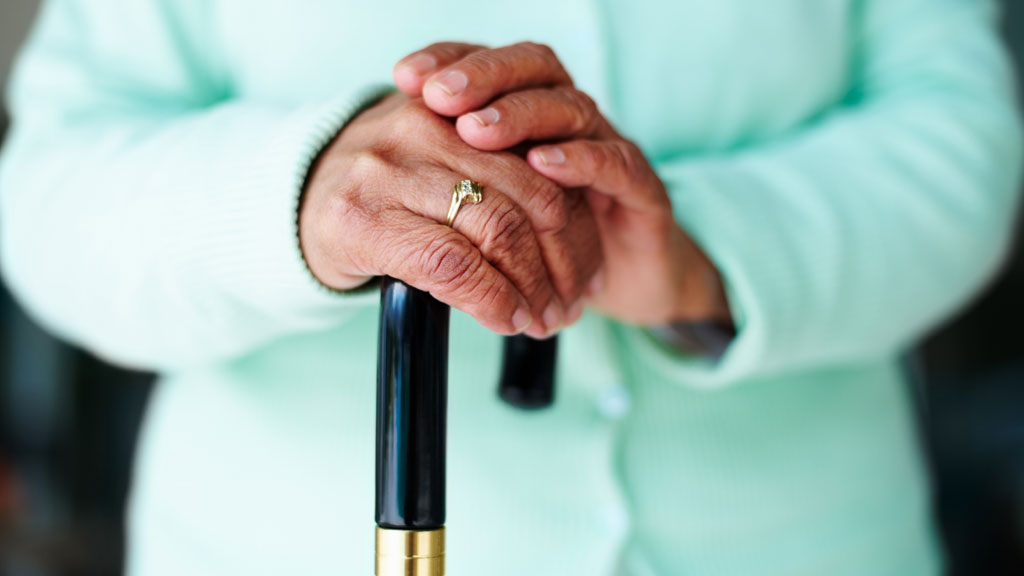 elderly hands, cane