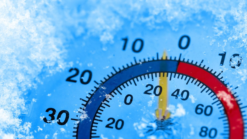 COLD WEATHER, FROZEN THERMOMETER