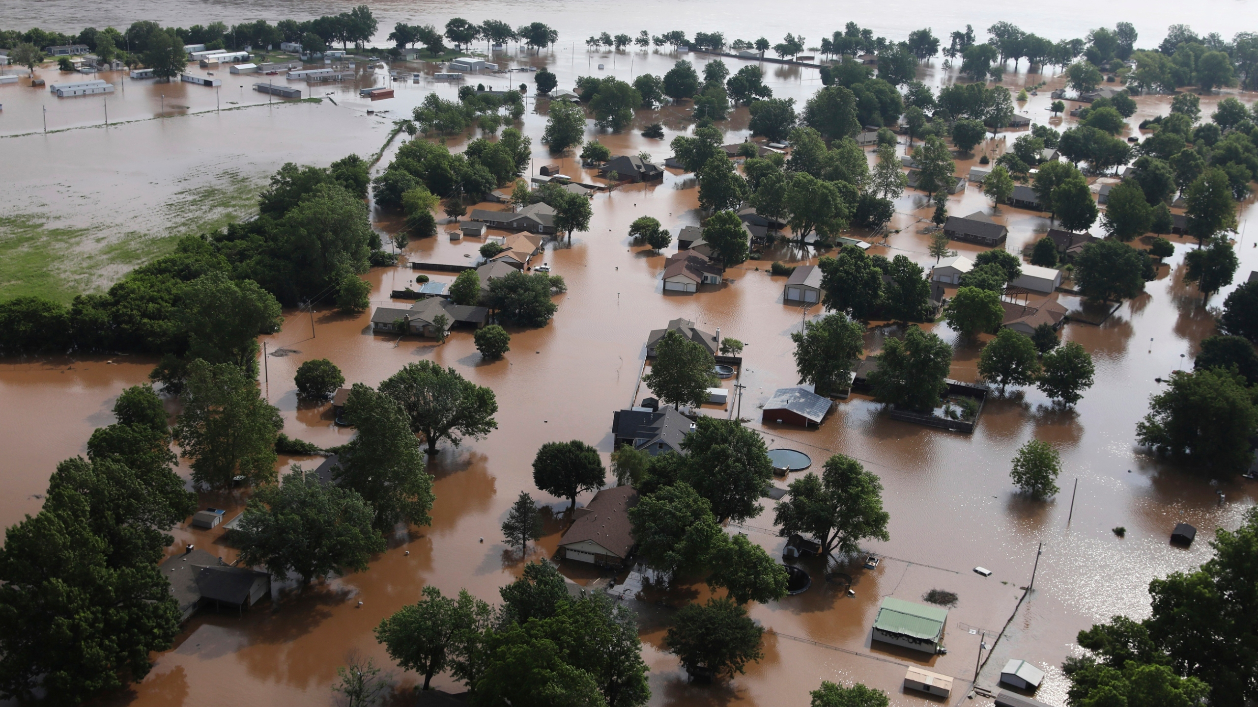 Homes flooded on the Arkansas River in Tulsa, Oklahoma
