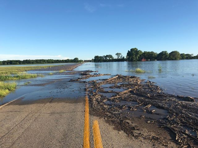 Flood waters cover road (KSN File Photo)