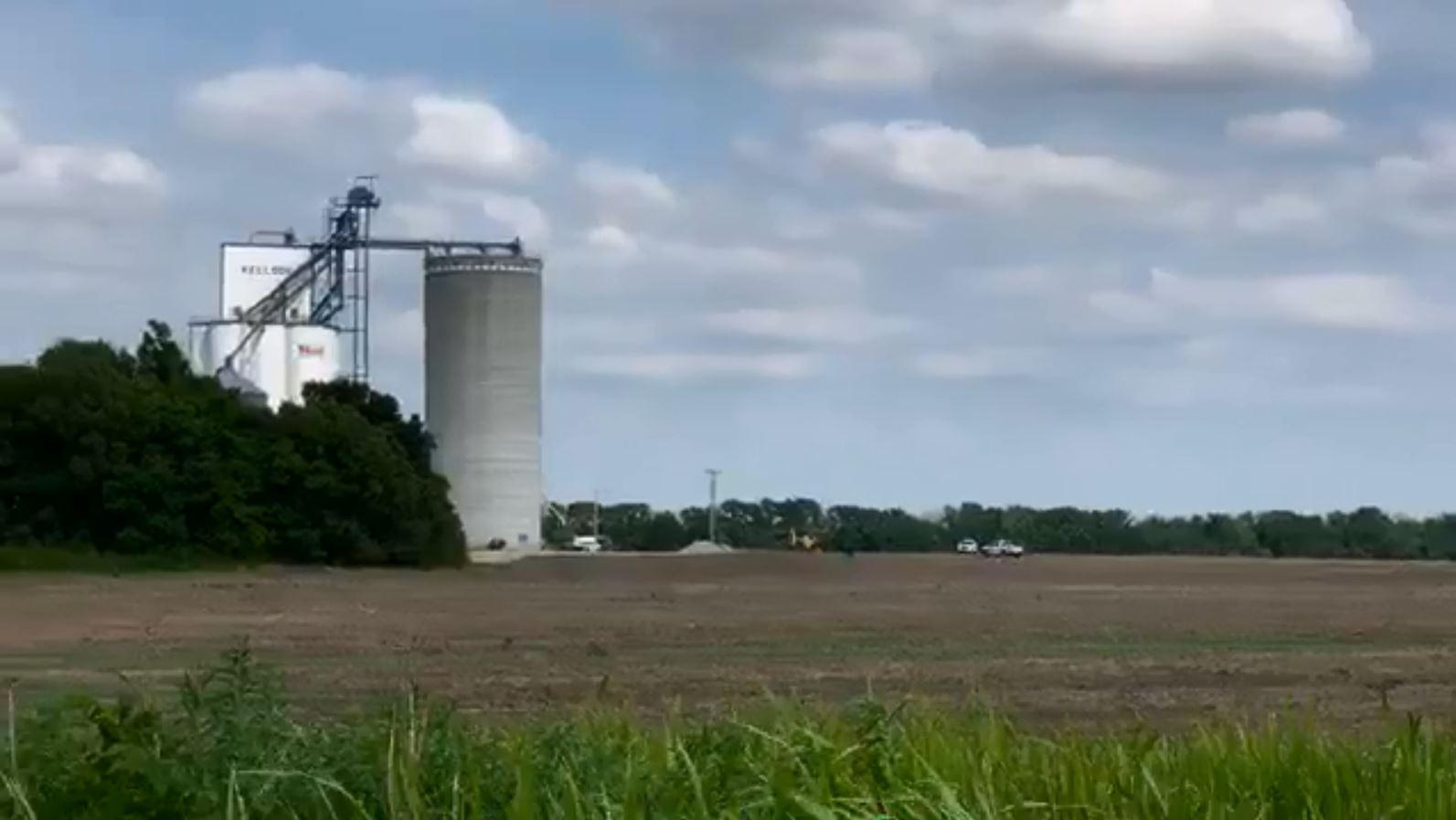 Worker trapped in grain bin