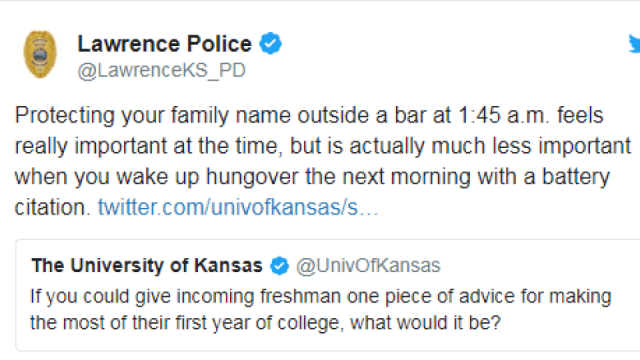 Lawrence PD tweets advice to incoming freshmen