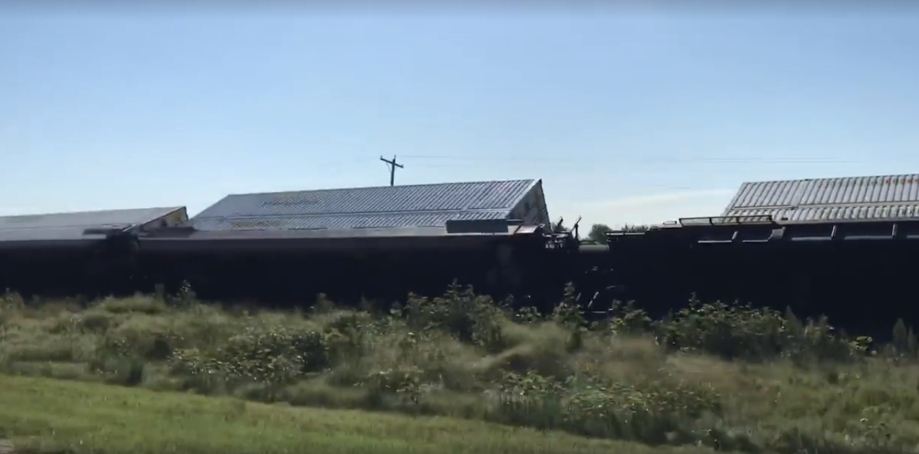 Train derailment in Harvey County amidst strong winds