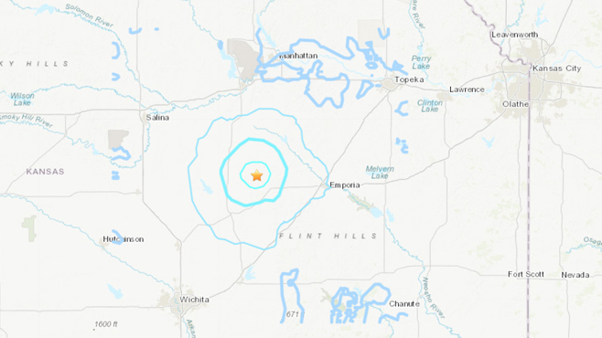 3.9 magnitude earthquake recorded near Cottonwood Falls