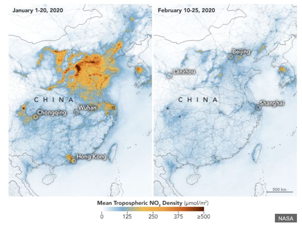 These maps show concentrations of nitrogen dioxide, a noxious gas emitted by motor vehicles, power plants, and industrial facilities. The  NO2 values across China from January 1-20, 2020 (before the quarantine) and February 10-25 (during the quarantine). The data were collected by the Tropospheric Monitoring Instrument (TROPOMI) on ESA's Sentinel-5 satellite. A related sensor, the Ozone Monitoring Instrument (OMI) on NASA's Aura satellite, has been making similar measurements.