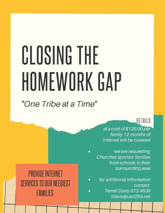 Help close the homework gap in USD 259. Provide internet services to families seeking opportunities to access internet.
