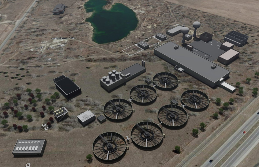 Computer rendering of Wichita's new water treatment facility currently under construction.
